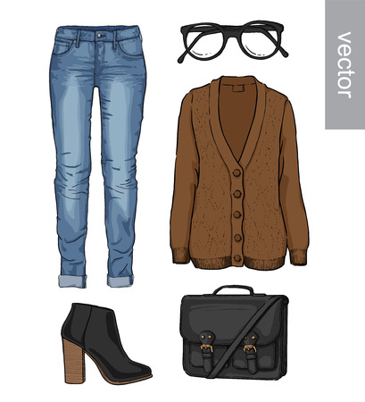 clothing store: Lady fashion set of autumn, spring, winter season outfit. Illustration stylish and trendy clothing. Cardigan, denim, glasses, schoolbag, shoes, boots Illustration