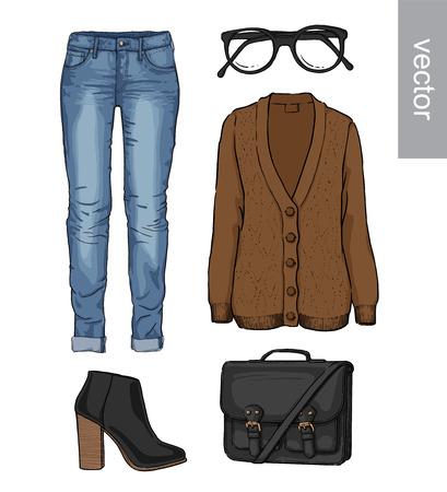 cardigan: Lady fashion set of autumn, spring, winter season outfit. Illustration stylish and trendy clothing. Cardigan, denim, glasses, schoolbag, shoes, boots Illustration