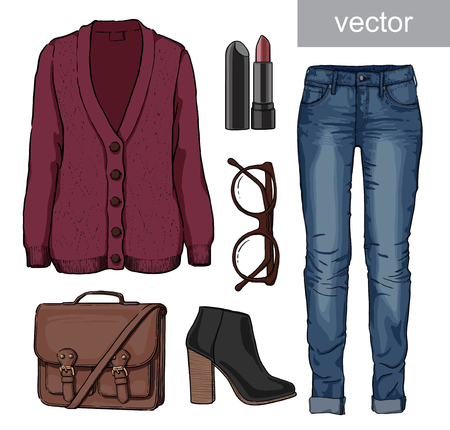 autumn fashion: Lady fashion set of autumn, spring, winter season outfit. Illustration stylish and trendy clothing. Cardigan, denim, glasses, schoolbag, shoes, boots Illustration