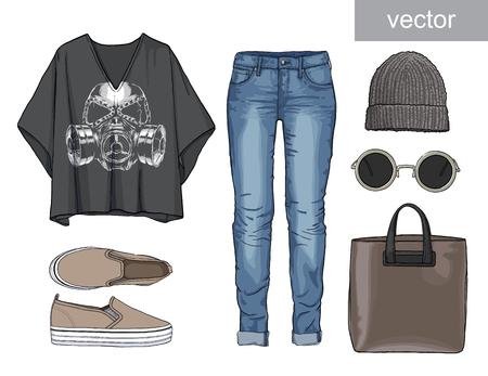 respirator: Lady fashion set of autumn, winter season outfit. Illustration stylish and trendy clothing. Denim, slip-on, jeans., hat, bag. Skull.