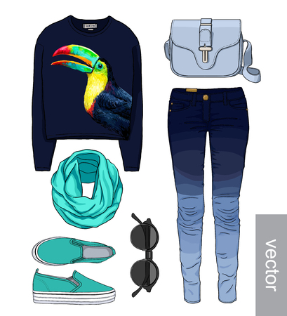 Lady fashion set of autumn, winter season outfit. Illustration stylish and trendy clothing. Denim, slip-on, jeans, bag. Paradise, tropical, exotic toucan. Ilustração