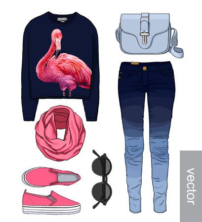 accessory: Lady fashion set of autumn, winter season outfit. Illustration stylish and trendy clothing. Denim, slip-on, jeans, bag. Paradise, tropical, exotic flamingo.