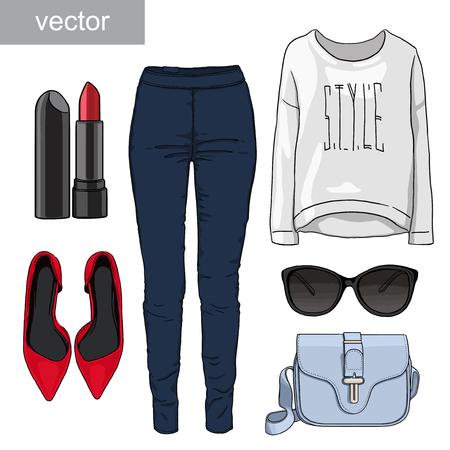calcanhares: Lady moda conjunto de outono, roupa primavera. Ilustração elegante e moderno roupas. Jeans, óculos, camisola, sapatos de salto alto. Ilustração