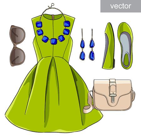 Lady mode-set van de lente, de winter seizoen outfit. Illustratie stijlvolle en trendy kleding. Jurk, tas, accessoires, zonnebrillen, schoenen.