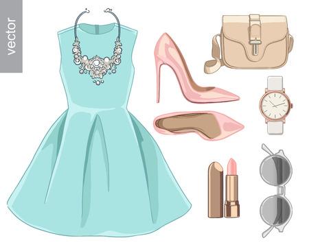 Lady mode-set van de lente, de winter seizoen outfit. Illustratie stijlvolle en trendy kleding. Jurk, tas, accessoires, zonnebrillen, schoenen met hoge hakken.