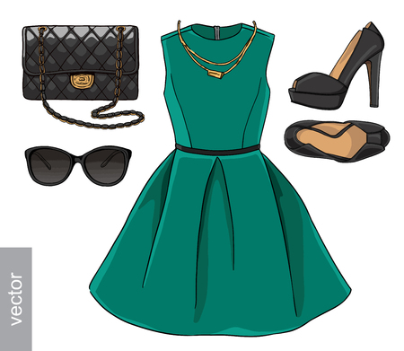 high heel shoes: Lady fashion set of spring season outfit. Illustration stylish and trendy clothing. Dress, bag, accessories, sunglasses, high heel shoes. Black, emerald.
