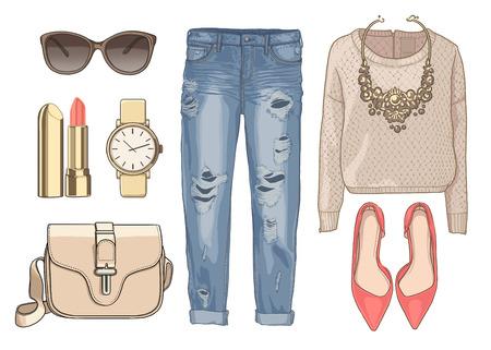 레이디 패션 가을, 겨울철 복장을 설정합니다. 그림 세련 되 고 트렌디 한 의류입니다. 데님, 바지, 선글라스, 목걸이, 스카프, 신발. 스톡 콘텐츠
