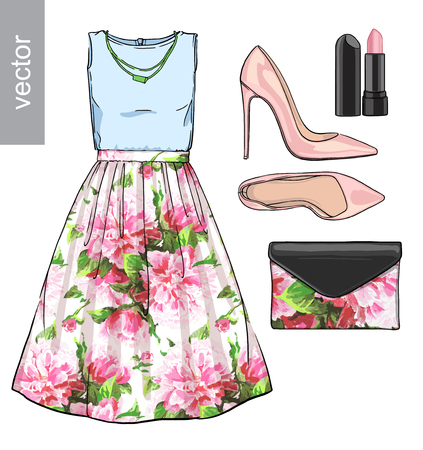 fashion shoes: Lady fashion set of spring, winter season outfit. Illustration stylish and trendy clothing. Dress, bag, accessories, sunglasses, high heel shoes. Flower peony watercolor romantic pattern. Illustration