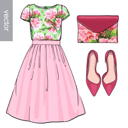 fashion set: Lady fashion set of spring, winter season outfit. Illustration stylish and trendy clothing. Dress, bag, accessories, sunglasses, high heel shoes. Flower peony watercolor romantic pattern. Illustration