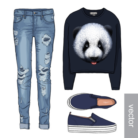 Lady fashion set of autumn, winter season outfit. Illustration stylish and trendy clothing. Denim, slip-on, jeans. Ilustração
