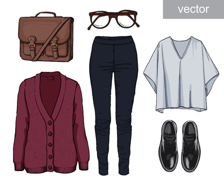 luster: Lady fashion set of autumn, spring season outfit. Illustration stylish and trendy clothing. Cardigan, denim, glasses, schoolbag, shoes, boots.