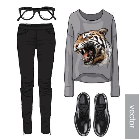 fashion glasses: Lady fashion set of autumn, spring season outfit. Illustration stylish and trendy clothing. Cardigan, denim, glasses, sweatshirt, shoes. Illustration