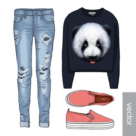 fashion set: Lady fashion set of autumn, winter season outfit. Illustration stylish and trendy clothing. Denim, slip-on, jeans. Illustration