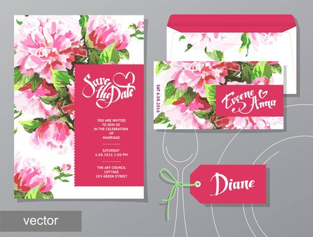 set of invitation cards with illustration of flowers PEONY watercolor hand draw romantic. Wedding collection. Design invitation templates.