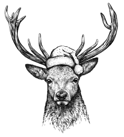 deer, black and white engrave. Christmas hat. Stock Photo