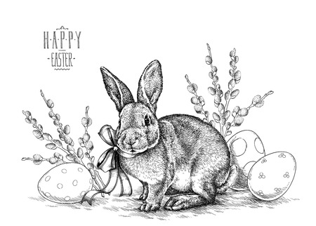 bowknot: Easter rabbit bunny engrave illustration vintage graphic