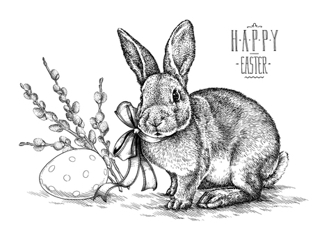 Easter rabbit bunny engrave illustration vintage graphic