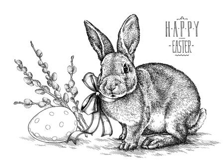 Ostern Kaninchen Hase Illustration Vintage Grafik gravieren Standard-Bild - 70647866