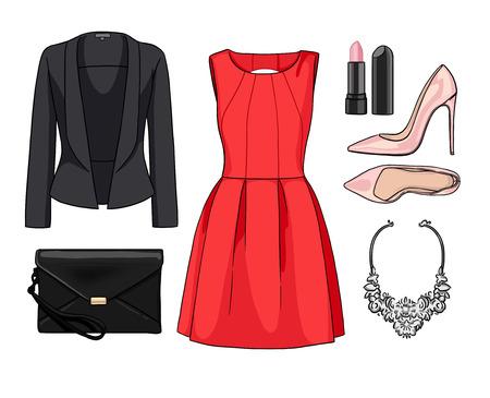 Lady fashion set of spring, summer season outfit. Illustration stylish and trendy clothing. Stock Photo