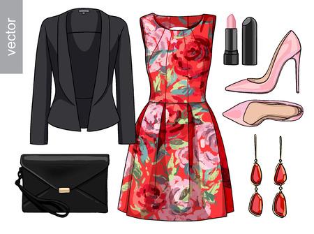 fashion set: Lady fashion set of spring, summer season outfit. Illustration stylish and trendy clothing. Vector.
