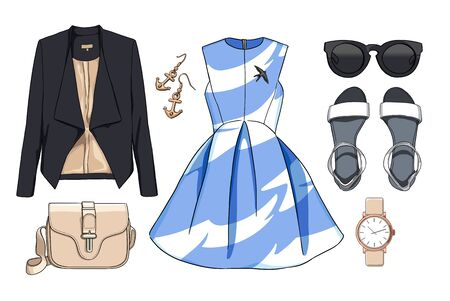 Lady fashion set of spring season outfit. Illustration stylish and trendy clothing. Dress, bag, accessories, sunglasses, shoes. Stock Photo
