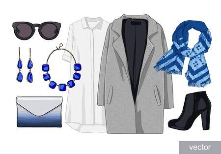 spring coat: Lady fashion set of autumn, winter season outfit. Illustration stylish and trendy clothing. Vector. Stock Photo