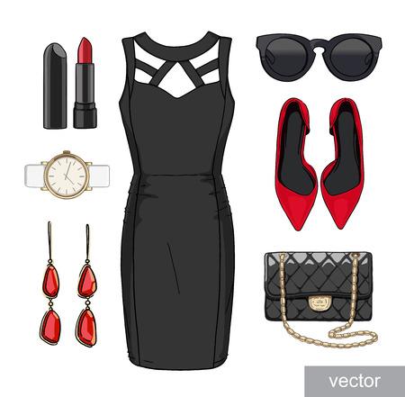 Lady mode set van lente, zomer seizoen outfit. Illustratie stijlvolle en trendy kleding. Vector.