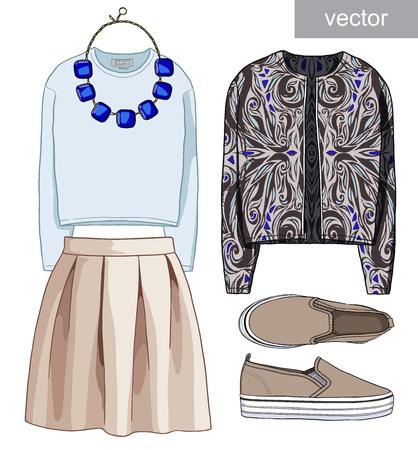 Lady fashion set of autumn, winter season outfit. Illustration stylish and trendy clothing. Illustration
