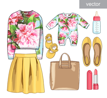 Vector. Lady fashion set of spring season outfit. Illustration stylish and trendy clothing.