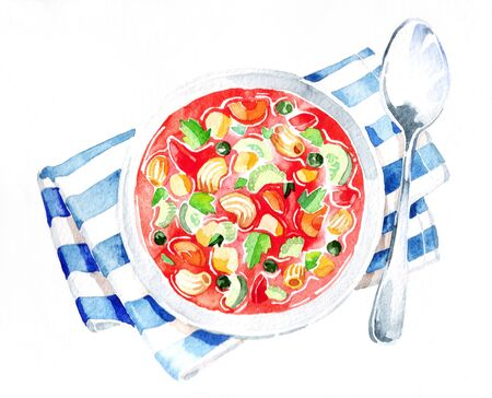 Minestrone soup. Watercolor hand drawing. Food, vegetables and fruit isolated on white background. Book illustration, recipe, menu, magazine or journal article.