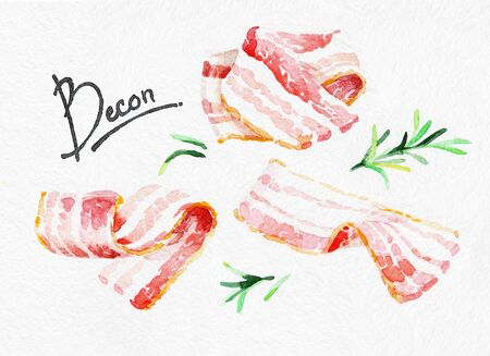 Bacon and rosemary. Watercolor hand drawing. Food, vegetables and fruit isolated on white background. Book illustration, recipe, menu, magazine or journal article.