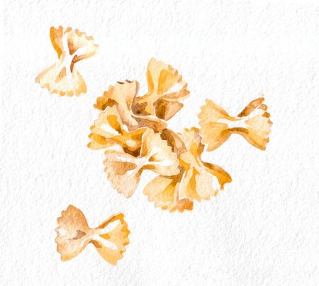 Pasta. Farfalle. Watercolor hand drawing. Food, vegetables and fruit isolated on white background. Book illustration, recipe, menu, magazine or journal article.