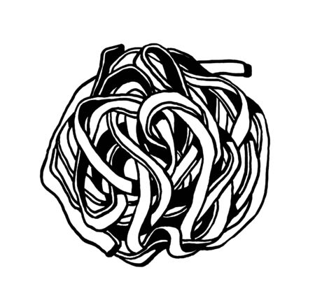 Pasta. Fettuccine, tagliatelle. Ink hand drawing. Black and white. Food, vegetables and fruit isolated on white background. Book illustration, recipe, menu, magazine or journal article.