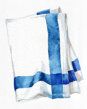 Striped kitchen towel. Watercolor hand drawing. Object isolated on white background. Cookbook illustration, recipe, menu, magazine or journal article