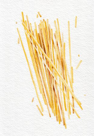 Pasta. Spaghetti. Watercolor hand drawing. Black and white. Food, vegetables and fruit isolated on white background. Book illustration, recipe, menu, magazine or journal article. Stock Photo