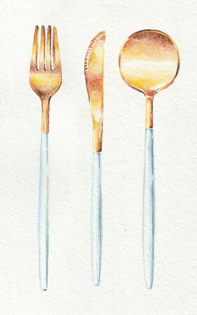 Cutlery, spoon, fork, knife. Ink hand drawing. Watercolor hand drawing. Food, vegetables and fruit isolated on white background. Book illustration, recipe, menu, magazine or journal article. Top view.