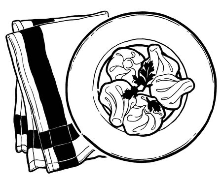 Khinkali, hinkali on a plate. Georgian menu cuisine. Ink hand drawing. Food, vegetables and fruit isolated on white background. Book illustration, recipe, menu, magazine or journal article