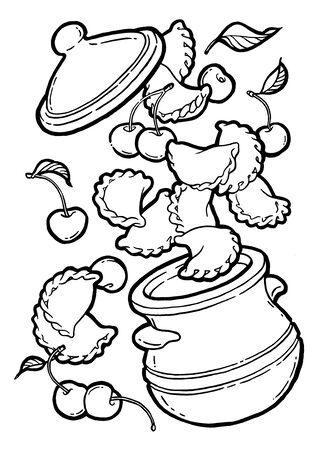 Dumplings, vareniki in a pot. Cherry jam. Ink hand drawing. Black and white.Watercolor hand drawing. Food, vegetables and fruit isolated on white background. Book illustration, recipe, menu, magazine or journal article