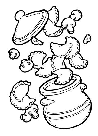 Dumplings, vareniki in a pot. Mushroom baked, roast. Ink hand drawing. Black and white. Food, vegetables and fruit isolated on white background. Book illustration, recipe, menu, magazine or journal article Stock Illustration - 131718809