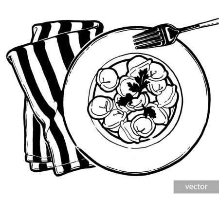 Dumplings on a plate. Ink hand drawing. Food, vegetables and fruit isolated on white background. Book illustration, recipe, menu, magazine or journal article. Illustration