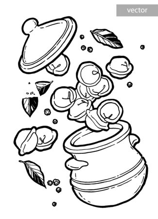 Dumplings in a pot. Bay leaf. Black pepper peas. Ink hand drawing. Food, vegetables and fruit isolated on white background. Book illustration, recipe, menu, magazine or journal article.