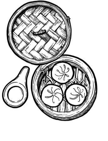 Dim sum. Black and white linear graphic. Ink hand drawing. Asian food. Chinese cuisine. Hand drawn illustration. Menu for cafe, restaurant, street festival, farmers market, poster, banner, sticker. Stock Illustration - 137772125