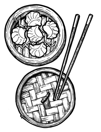 Dim sum. Black and white linear graphic. Ink hand drawing. Asian food. Chinese cuisine. Hand drawn illustration. Menu for cafe, restaurant, street festival, farmers market, poster, banner, sticker.