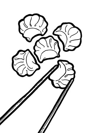 Dim sum. Black and white linear graphic. Ink hand drawing. Asian food. Chinese cuisine. Hand drawn illustration. Menu for cafe, restaurant, street festival, farmers market, poster, banner, sticker. Stock Illustration - 137772135