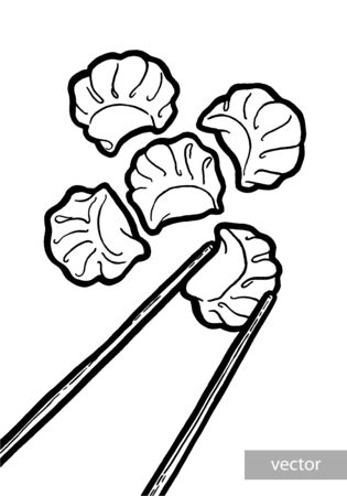 Dim sum. Black and white linear graphic. Vector. Asian food. Chinese cuisine. Hand drawn illustration. Menu for cafe, restaurant, street festival, farmers market, poster, banner, sticker.  イラスト・ベクター素材