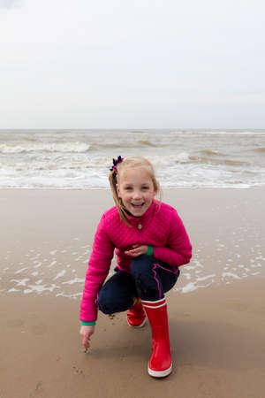 dutch girl: Happy Young Girl At Dutch North Sea Coast