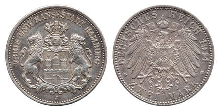 German Empire Hamburg 2 Mark silver coin vintage 1914 Stock fotó