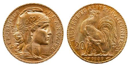 Gold coin France 20 Francs 1909, conservation in mint Imagens