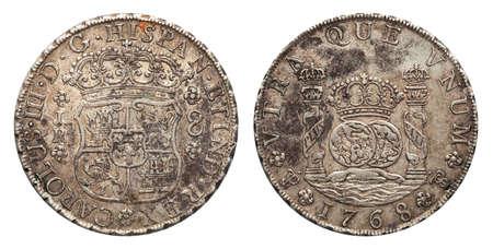 Mexico silver coin 8 real 1768 Imagens - 120358105
