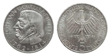 Germany collector coin 5 mark Spruce 1964 silver, front Johann Gottlieb Fichte, reverse eagle Standard-Bild - 120358121